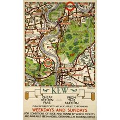 Kew Map Tea Towel