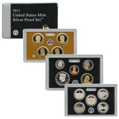 2011-S 14-Coin Silver Proof Set including 5 America the Beautiful Quarters and 4 Presidential Dollars