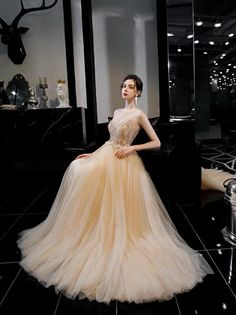 Golden prom dress sleeveless party dress tulle evening dress elegant banquet dress atmosphere evening dress sold by shuiruyandresses. Shop more products from shuiruyandresses on Storenvy, the home of independent small businesses all over the world. Lace Evening Dresses, Elegant Dresses, Bridal Dresses, Prom Dresses, Formal Dresses, Banquet Dresses, Beaded Prom Dress, Formal Prom, V Neck Dress