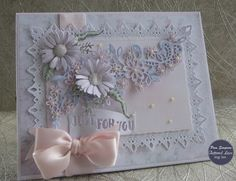 """Hello everyone, DT samples for Tattered Lace.""""Pastel Haven Collection"""" Launching over on Create and craft TV. Silk Flowers, Paper Flowers, Create And Craft Tv, Tattered Lace Cards, Picture Postcards, Fun Fold Cards, Beautiful Handmade Cards, Craft Box, Flower Cards"""