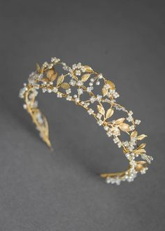 Bespoke for Yasmine_pearl and gold wedding crown 2