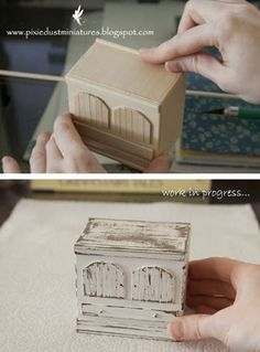 love this way of making furniture, turns out realistic as well Fairy Furniture, Barbie Furniture, Miniature Furniture, Dollhouse Furniture, Miniature Crafts, Miniature Houses, Miniature Dolls, Dollhouse Tutorials, Diy Dollhouse