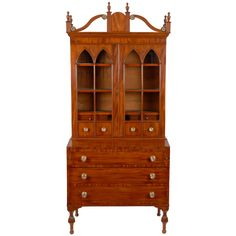 Stunning Sheraton Mahogany secretary desk and bookcase, Maine, circa 1820