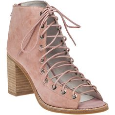JEFFREY CAMPBELL Cors Pink Suede Lace-Up Bootie (1.050 VEF) ❤ liked on Polyvore featuring shoes, boots, ankle booties, ankle boots, pink suede, lace up booties, lace-up bootie, pink boots and high heel booties