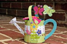 Watering Can by Christine Ousley featuring Petaloo Floradoodles flowers and Hello Spring paper by Little Yellow Bicycle!