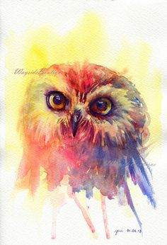 The Owl ORIGINAL watercolor painting 75x11 by WaysideBoutique, $25.00