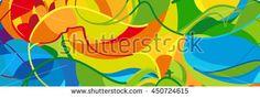 Rio de Janeiro 2018 abstract colorful pattern. Summer color Green, orange, yellow, blue. Rio. Bright color vector illustration. Carnival, Festival, Sport Brazil, Rio, Games banner for design.