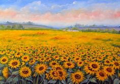 Campo di #Girasoli #Sunflowers Olio su tela Oil #painting