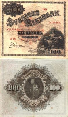 Sweden 100 Kronor 1916 (G. Vasa, Svea seated)