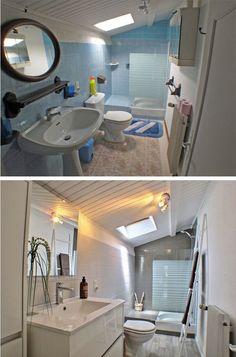 Remplacer le pied du lavabo par un meuble dans la SALLE DE BAIN du bas