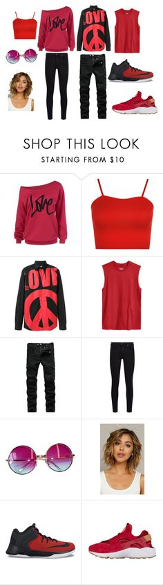 """""""Valentines Day Outfit"""" by angelina-gannon ❤ liked on Polyvore featuring WearAll, Love Moschino, Champion, 7 For All Mankind, Janis, Fantasia and NIKE"""