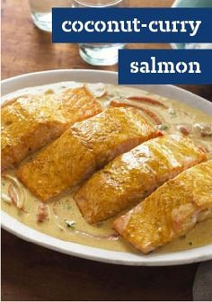 Coconut-Curry Salmon The triple zing of lime, lively spices and a creamy coconut sauce turn salmon into your ticket to a delectable taste tour. Believe us, its a trip worth taking. Salmon Recipes, Fish Recipes, Seafood Recipes, Indian Food Recipes, Recipies, Salmon Dishes, Fish Dishes, Seafood Dishes, Main Dishes