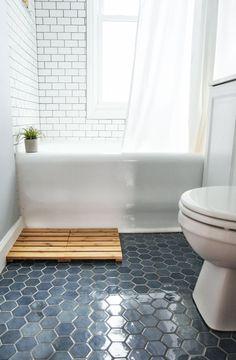 Blue-Hexagon-Floor-Tile tiles 8 Things I Learned During My Bathroom Tile Renovation Bad Inspiration, Bathroom Inspiration, Interior Inspiration, Dressing Design, Bathroom Floor Tiles, Bathroom Cabinets, Bathroom Mirrors, Best Bathroom Flooring, Flooring Tiles