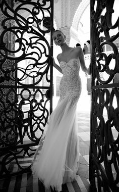 A seamless, all lace strapless wedding gown. Sweetheart shaped top and tulle inserts all around the skirt, with lace details and a chapel train. New Wedding Dresses, Wedding Suits, Bridal Dresses, 2017 Bridal, Bohemian Bride, Mermaid Gown, Beautiful Gowns, Bridal Collection, One Shoulder Wedding Dress
