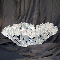 Glass, fused, vessel. cut strips like a coral bowel before adding the detail on the rim. Its beautiful. Clear Ice Tangled Bowl by MargieMcNuttGlass