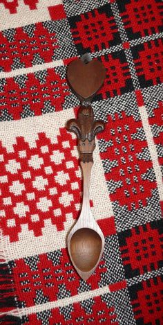 one of my lovely Welsh love spoons by the Williams family of Swansea, on an old family Welsh wool blanket