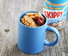 Peanut Butter and Jelly Mug Cake | Kirbie's Cravings | A San Diego food blog. Just tried this right now--really delicious, but at least in my microwave, it needed 1:30 minutes instead of 1. Also--it's eggless!!! So you can eat it raw :D