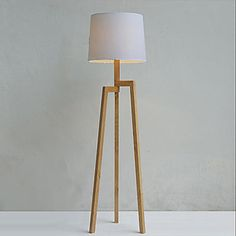 Wooden Tripod Floor Lamp with Fabric Shade – USD $ 349.99