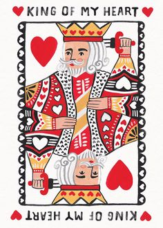 King of Hearts Jade Fisher Valentine& Day Card Valentines Illustration, Love Illustration, Graphic Design Illustration, Landscape Illustration, King Of Hearts Card, Mothers Day Drawings, King Card, Posca Art, Card Drawing