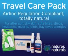 Natural first aid solutions for all business and holiday travel - complies with airline safety regulations