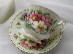 Vintage Royal Albert teacup October cosmos  by NewtoUVintage