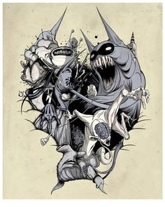 """Still scared"" Limited Collaborative Giclee Print by Alex Pardee & Greg ""Craola"" Simkins"