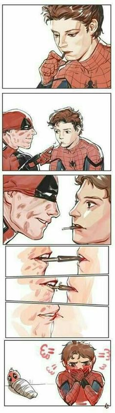 Read Spideypool from the story Fotos/gifs/fanarts sobre ships Gays by yanenass with reads. Marvel Funny, Marvel Dc Comics, Marvel Avengers, Marvel Jokes, Spideypool Comic, Superfamily, Marvel Universe, Deadpool Y Spiderman, Spaider Man