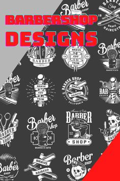 41 Retro Barbershop Designs. 100% vector + editable texts. It's very easy to change it using Adobe Illusttrator. 41 Barbershop logo designs are available to download on www.dgimstudio.com. Create your own cool design for your Barbershop business. Be ourstanding! #skull #barber #barbershop #vector #vectorillustration #logo #logodesign #skullart #skulllogo Skull Logo, Skull Art, Shave Designs, Vector Design, Logo Design, Shaving Cut, Barbershop Design, Salon Interior Design, Monochrome Fashion