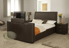 Vega TV Bed - Brown Leather 5ft King Bed + FREE Delivery & Installation Tv Beds, Beds For Sale, Beds Online, King Beds, King Size, Free Delivery, Mattress, Brown Leather, Furniture