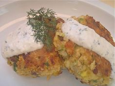 Salmon Cakes with Lemony Horseradish-Dill Sauce - For the sauce, I would substitute Miracle Whip for the mayo and yogurt for the sour cream to bring the calorie count down.