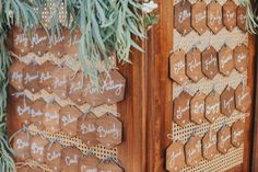 Wooden wedding escort idea - wooden hexagons on wooden screen {Jenny Smith & Co.}