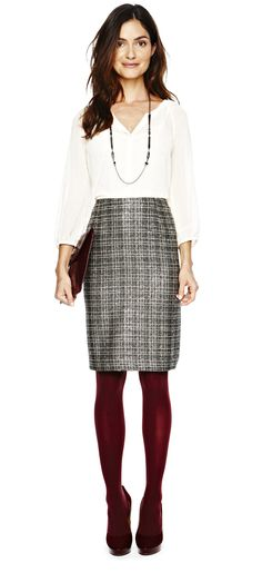 office ready and salary friendly — liz claiborne woven shirt and boucle skirt