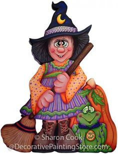 The Decorative Painting Store: Bashful Belinda Witch Pattern by Sharon Cook