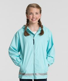 YOUTH Monogrammed Personalized Full Zip Rain Jacket - 6 colors