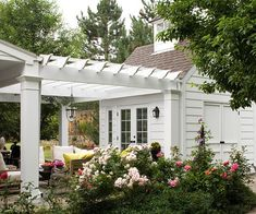 i hate attached garages..i love the idea of a detached garage and then have a porch combining them