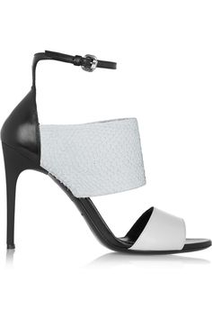 Alexander McQueen Snake-effect leather sandals in black and white Jennifer Fisher, Helmut Lang, Marilyn Monroe Shoes, Peep Toe, Cinderella Slipper, Alexander Mcqueen Shoes, Shoes 2015, Beautiful Sandals, Black And White Shoes
