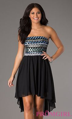 High Low Strapless Dress at PromGirl.com (black/blue)