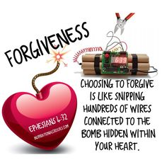 Choosing to forgive is like snipping hundreds of wires connected to the bomb hidden within your heart and outcome will be peace and freedom from bondage.  Ephesians 4:32 And be ye kind one to another, tenderhearted, forgiving one another, even as God for Christ's sake hath forgiven you.