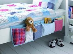 DIY Organizing Ideas for Kids Rooms - Hanging Bed Organizer - Easy Storage Projects for Boy and Girl Room - Step by Step Tutorials to Get Toys, Books, Baby Gear, Games and Clothes Organized - Quick and Cheap Shelving, Tables, Toy Boxes, Closet Tips, Bookcases and Dressers - DIY Projects and Crafts http://diyjoy.com/diy-organizing-ideas-kids-rooms