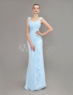 Long Light Sky Blue Chiffon Pleated Lace Evening Dress - Get unbeatable discounts up to 70% Off at Milanoo using Coupon & Promo Codes