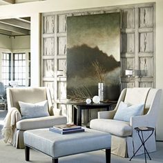 McAlpine, Booth, & Ferrier Interior's Coastal Beauty.  I love the wood paneled wall detail behind the artwork!!