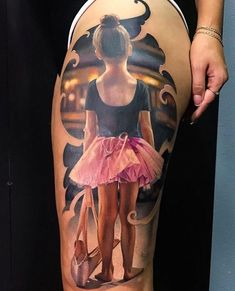 A beautiful piece with a little ballerina girl holding her shoes, done on the side of her thigh. Leg Sleeve Tattoo, Leg Tattoo Men, Leg Tattoos, Cool Tattoos, Tatoos, Acrylic Nails Pastel, Acrylic Nails Coffin Short, Simple Acrylic Nails, Tattoo Girls
