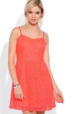Deb Shops Tribal Crochet A Line Dress with Spaghetti Straps $24.99