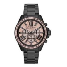 Authentic Michael Kors Chronograph Quartz Watch Black ion-plated stainless steel case and bracelet. Fixed black ion-plated bezel set with rose crystals. Rose crystal pave dial with luminous black hands and index hour markers. Roman numerals mark the 4, 8 and 12 o'clock positions. Minute markers around the outer rim. Dial Type: Analog. Luminescent hands and markers. Fashion watch style. Michael Kors Everest Chronograph Rose Dial Black Ion-plated Ladies Watch MK5879. Brand New with Tags, box…