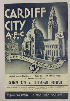 Cardiff City 4 Newcastle Utd 2 in Oct 1954 at Ninian Park. The programme cover Cardiff City Football, Cardiff City Fc, Manchester City, Manchester United, Chelsea, Football Memorabilia, Association Football, Everton Fc, Sheffield United