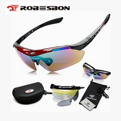 ROBESBON Women Men MTB Road Mountain Cycling Riding Bicycle Bike UV400 Sports Sun Glasses Eyewear Goggles 5 Lens