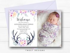 BABY THANK YOU Card Girl Birth Announcement Boho Birth