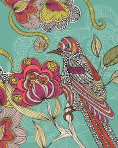 size: Stretched Canvas Print: Beatriz by Valentina Ramos : Artists Using advanced technology, we print the image directly onto canvas, stretch it onto support bars, and finish it with hand-painted edges and a protective coating. Bird Wall Art, Illustrations, Stretched Canvas Prints, Oeuvre D'art, Doodle Art, Bird Doodle, Art Lessons, Wall Art Prints, Art Drawings
