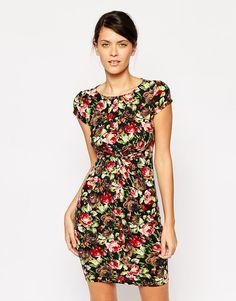 Iska Twist Front Dress in Floral Print