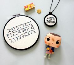 Stranger things embroidery hoop / necklace pendant home decor